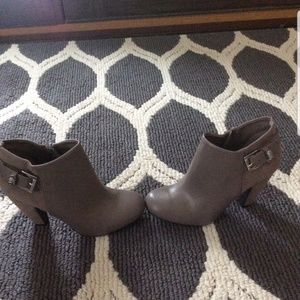 NEW Taupe Leather & Suede Heel Bootie